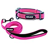azuza Durable Padded Dog Leash and Collar Set, Reflective Strip Extra Safe and Comfy for Medium Dogs, Hot Pink