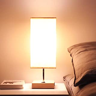 Bedside USB Table Lamps for Bedroom - USB Charging Port Reading Lamp for Living Room End Side Table Nightstand Lamp - Support 100 Watts Equivalent E26 Bulb, Handy Switch on Base, Beige Fabric Shade
