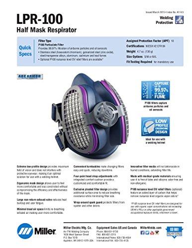 Miller Electric ML00895 Half Mask Respirator, M/L, Single Filter