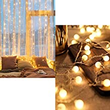 Twinkle Star 300 LED Window Curtain String Light | Fairy Starry Globe String Lights Battery Powered, 2 Pack