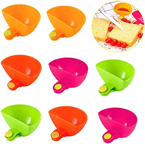 WQHSL 8 Pcs Assorted Dip Clips for Plate,Progressive Dip Clips Bowl Plate Holder,Spice Dip Container for Salt,Tomato Sauce,Sugar,Vinegar-4 Colors(Rose Red,Yellow,Green,Orange)