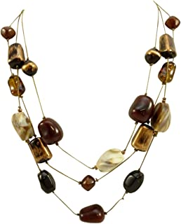 New Multi Strand Necklace Rich Earthy Fall Colored Stones N1049