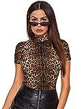 SheIn Women's Mock Neck Leopard Tee Shirt Short Sleeve Slim Fit T-Shirt Top Leopard Print Medium