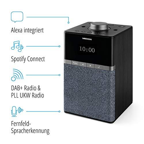 MEDION P66130 WLAN Internet DAB+ Radio mit Amazon Alexa, Dot Matrix Display, PLL UKW, DLNA kompatibel, Fernfeld Spracherkennung, Multiroom-Funktion, Musikstreaming
