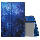 MoKo Hülle Kompatibel mit All-New Kindle Fire HD 10 und Fire HD 10 Plus (11. Generation, 2021 10,1 Zoll, Kunstleder Ständer Schutzhülle Tablethülle mit Auto Schlaf/Aufwach Funktion, Blau Sterne
