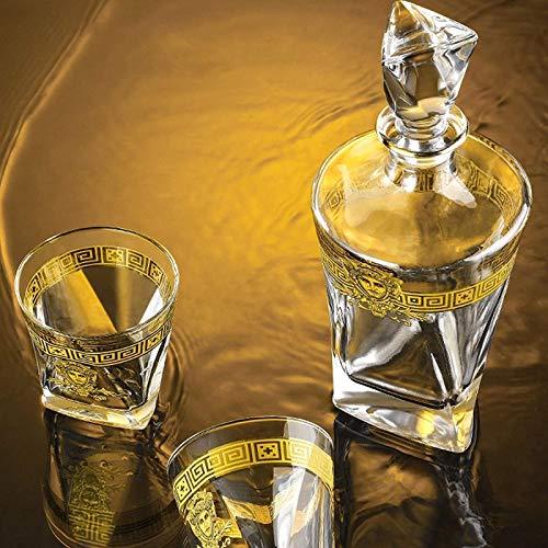 Decantador de vino de vino de cráneo y gafas Set Whisky de tela ANTER Conjunto con 4 gafas de cristal de triángulo, 8 piedras de whisky escalofriante, caja de regalo de almacenamiento, vidrio de cócte