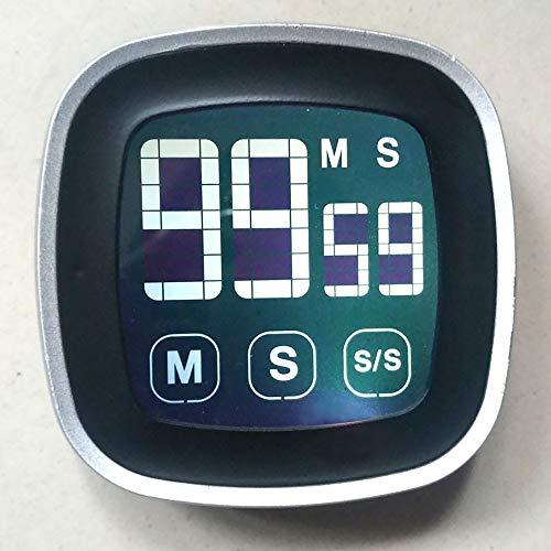 Große elektronische Touch-Screen-LED-Anzeige-Küche-Timer Elektronische Digital-Küche Kochen Timer Kühlschrank Uhr (Color : Black)