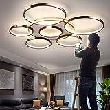 Deckenleuchte LED Dimmbar Deckenlampe Mit Fernbedienung Groß Wohnzimmerlampe Modern Lichtfarbe/Helligkeit Einstellbar Schlafzimmerlampe Esszimmer Küchelampeacryl Metallrahmen Pendelleuchte,7heads