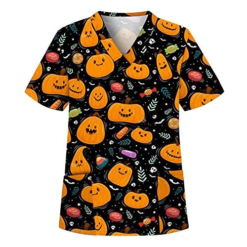 Briskorry Casaca de Halloween para mujer, manga corta, cuello en V, ropa de trabajo, uniforme de enfermera, naranja, XXL