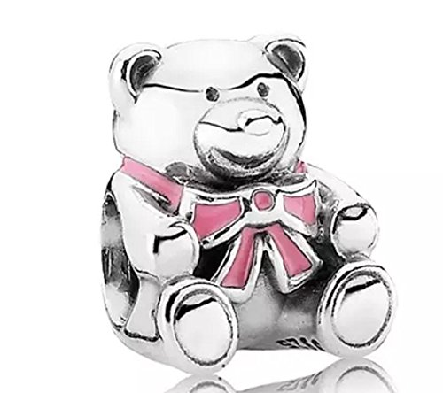 FeatherWish 925 Sterling Silver New Baby Its A Boy Or Girl Teddy Bear Charm Compatible With Pandora Bracelet (Pink)