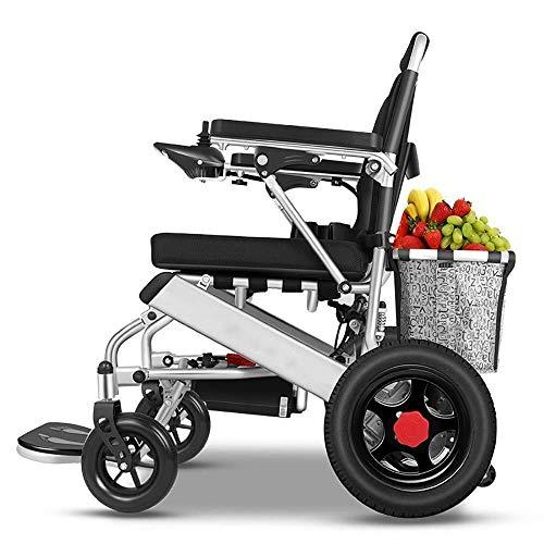 UUHHBBVV Klappbarer Aluminium-Rollstühle für Rollstuhl, Portable Storage Basket Leichter Lithium-Akku Rollstuhl, motorisierte Rollstuhl, für bis zu 150 kg ältere Belastung 24v12ah