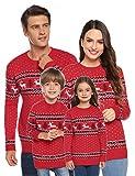 Abollria Suéteres Navideños Jersey de Navidad Pullover de Punto para Mujer Hombre Nina Niño