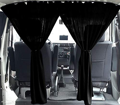 VW T5 T6 Multivan Transporter Caravelle Maß Gardinen Fahrerhaus Abtrennung Farbe: Schwarz