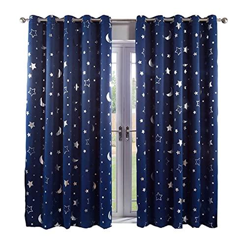 Dreamscene Star Galaxy Room Darkening Curtains for Kids Room Girls Bedroom 2 Panels Thermal Blackout Eyelet Panels Metallic Stars Moon - Navy Blue, Width 52' x Drop 84'