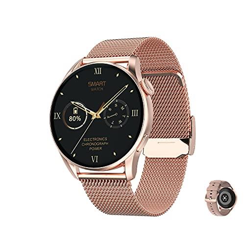 Aliwisdom - Reloj Inteligente para Hombre Mujere, Redondo Smartwatch DT 3 con Llamadas Bluetooth y Recordatorio de Whatsapp Impermeable Reloj Deportivo Correa de Metal para iPhone Android (Oro Rosa)