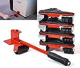 Levantador de muebles Fácil de mover Slider Juego de herramientas de 5 piezas para muebles pesados Sistema de elevación de movimiento de carga máxima 360 grados relleno giratorio (rojo)