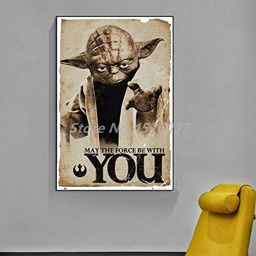 Póster de Yoda Vintage May The Force Be With You Pinturas sobre lienzo Arte moderno Cuadros decorativos de pared Decoración del hogar...