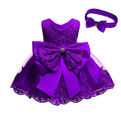 Dresses for Girls 6M Baptism Dresses for Baby Girls Special Occasion Dresses for Kids Knee Length Floral Dresses for Toddlers Lace A-Line Princess 0-6M Baby Girl Bow Dresses (Violet 6M)