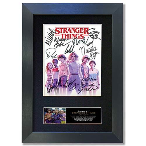The Gift Room Póster Strangger Things # 2 de Calidad con autógrafo Firmado, tamaño A4, Marco Negro # 849