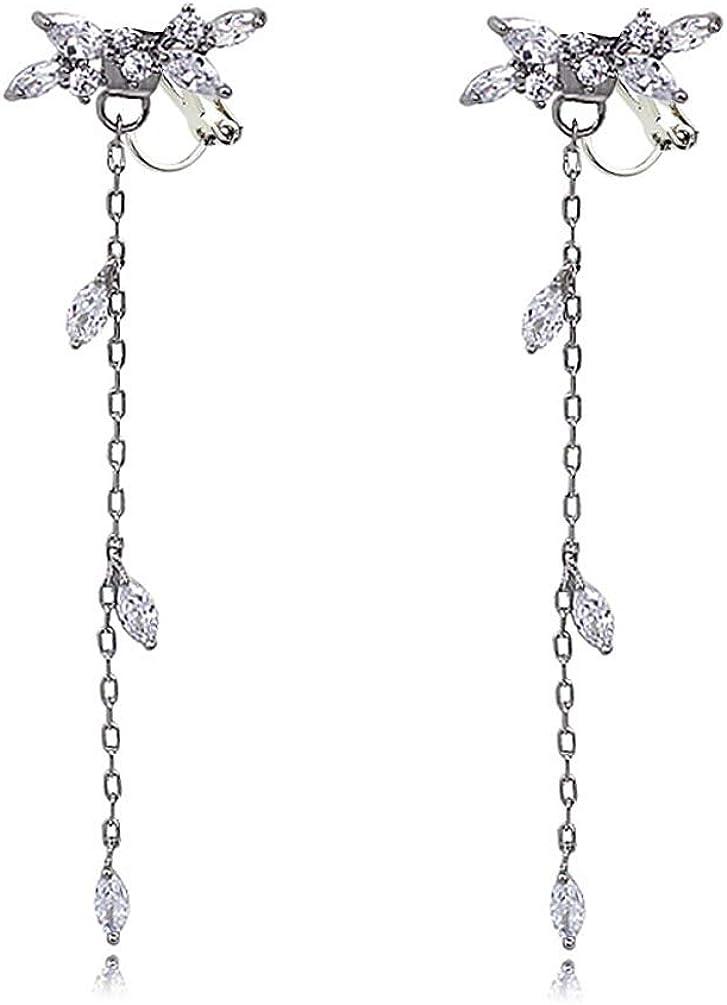 Cubic Zirconia Leaf Clip on Dangle Knot Earrings no Pierced Soft Pads CZ Long Tassel Drop for Women Girls