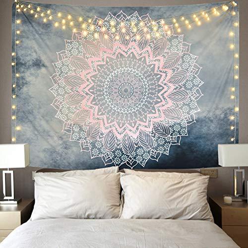Alishomtll Mandala Wandbehang Lotus Wandteppich indisch Tapisserie Bohemien Orientalisch wandtuch Blume Wand Dekoration Grau Rosa 150 x 210 cm