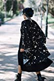 Stars and Moons witch kimono dark halloween black jacket, wiccan witchy fashion robe