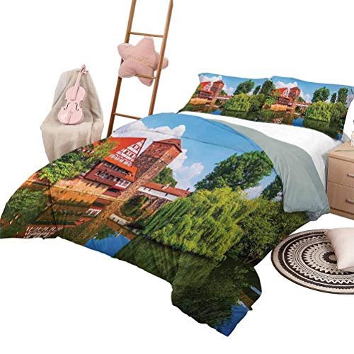 DayDayFun Duvet Cover Set Landscape Pattern Bed Cover Scenic Summer of German Traditional Medieval Half Timbered Bridge River Town King Size Red Blue Green