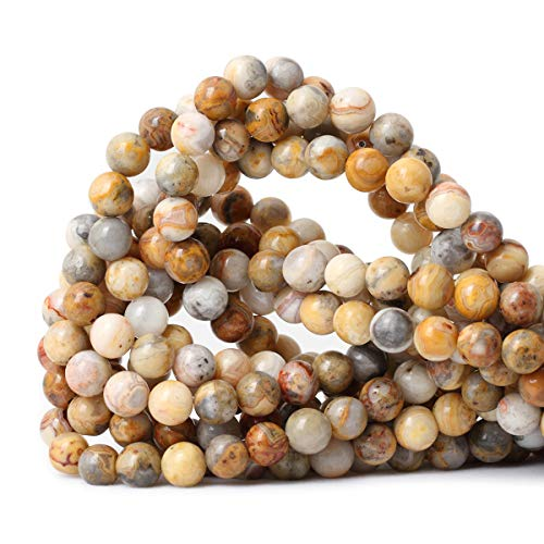 CHEAVIAN 45PCS 8mm Natural Yellow Crazy Lace Agate Gemstone Round Loose Beads for Jewelry Making 1 Strand 15'