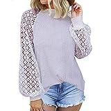 Dihope – Camiseta de manga transparente para mujer, top sexy – Sudadera, diseño elegante, elegante, elegante, cuello crew – Sudadera primavera (blanco, XL)