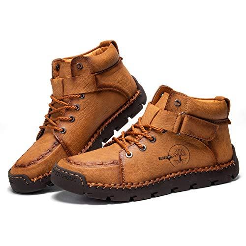Camfosy Botas Chukka para hombre con costuras a mano, botas cálidas con forro de piel sintética de invierno, mocasines con cordones para conducir, amarillo, EU 40