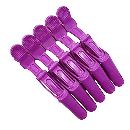 Milopon Épingle à Cheveux en Plastique Pince Crocodile Coiffure Professionnel Outil Pour Salon Femme Cadeau DIY 11cm 5pcs (Violet)