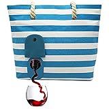 PortoVino Sac De Plage en Toile (Turquoise et Blanc) - Sac à Main de vin - versez 2 Bouteilles de Vin Pour la Route