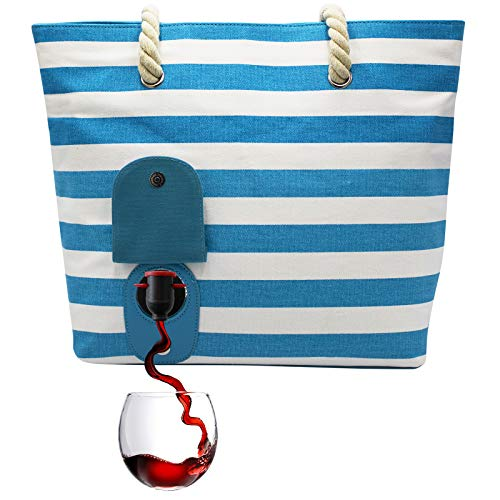 Image of the PortoVino Beach Wine Purse (Turquoise/White) - Beach Tote with Hidden, Insulated Compartment, Holds 2 bottles of Wine! / Great Gift! / Happiness Guaranteed!