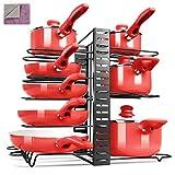 MASTERTOP Soporte para Ollas y Sartenes Organizadores Ajustable de Metal para Cocina 3 en 1 con 8 Separadores Rejilla de Pared para Almacenar Sartenes, Tapas y Otros Utensilios de Cocina