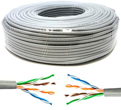 Mr. Tronic 50m Ethernet Netzwerk Netzwerkkabel | Installationskabel | CAT5E, AWG24, CCA, UTP, RJ45 | Grau (50 Meter)