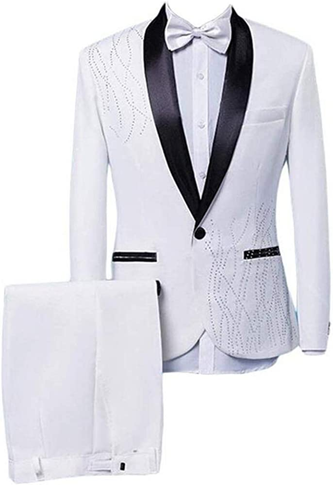 Mens Shawl Lapel Slim Fit White 2 Pieces Stage Blazer Performance Suits Wedding Suits