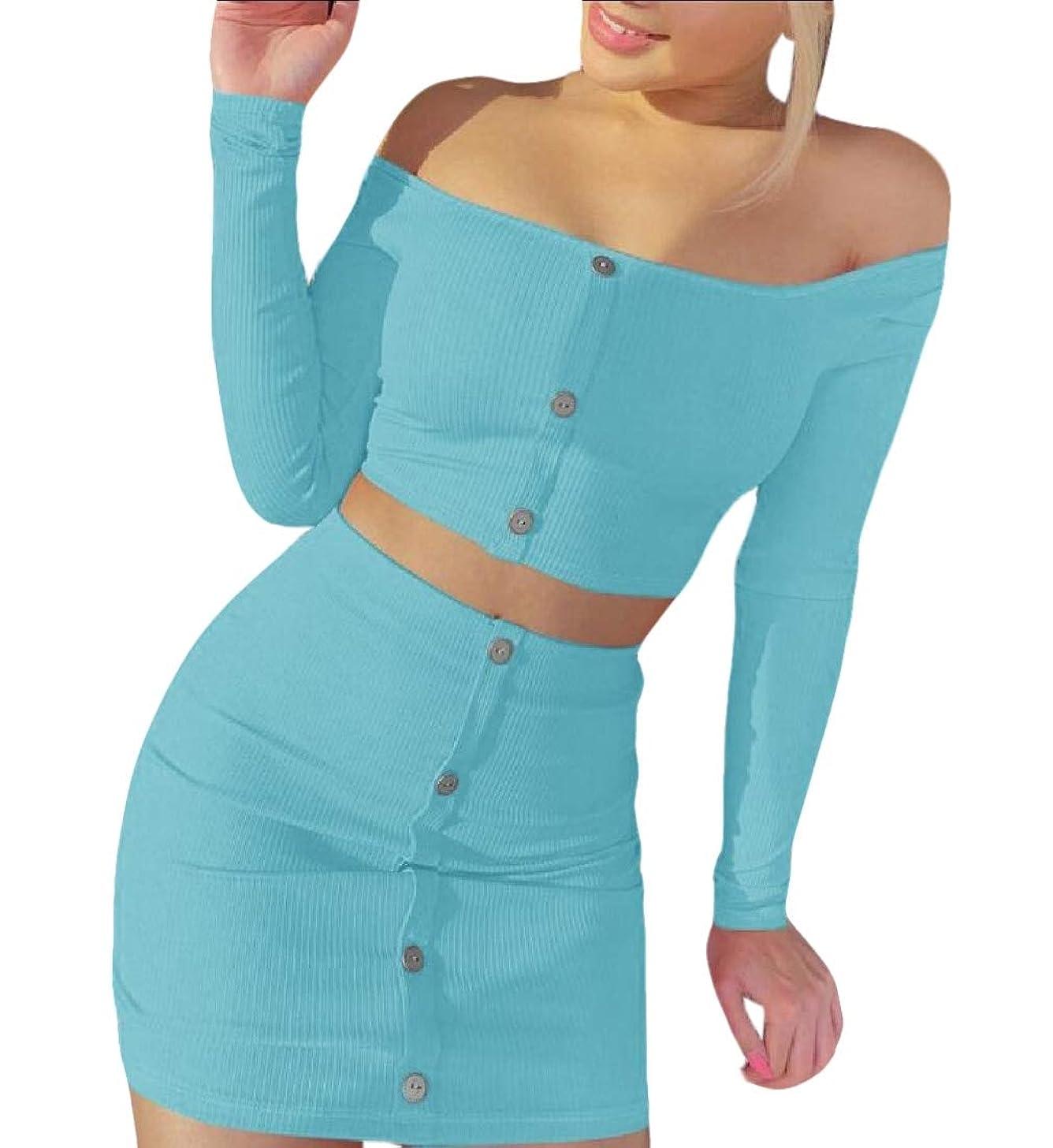 ループ排泄するやりすぎWomen Sexy 2 Piece Set Off Shoulder Long Sleeve Button Down Crop Top Bodycon Mini Skirt Outfit