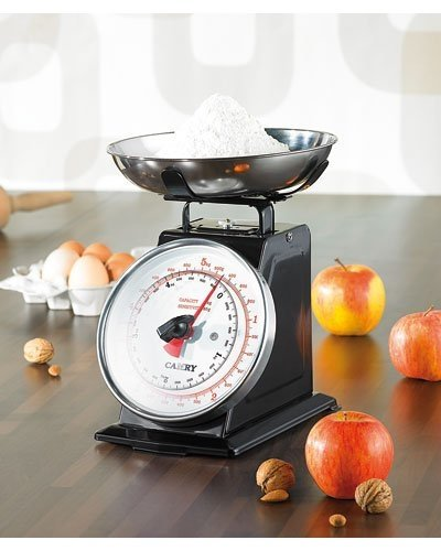 Rosenstein & Söhne Küchenaustattung: Analoge Retro-Küchenwaage bis 5 kg mit Tara-Funktion, schwarz, Metall (Haushaltswaage)