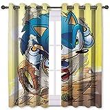 SSKJTC Cortinas opacas Sonic the Hedgehog Desert Run Cactus Cortinas oscurecedoras para dormitorio (106 x 137 cm)