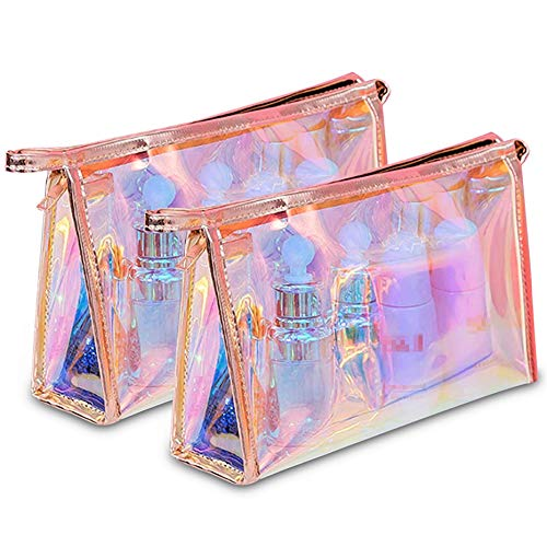 WestonBasics Holographic Makeup Bag, Set of 2 Iridescent Makeup Pouch for Cosmetic Toiletry, Pencil,