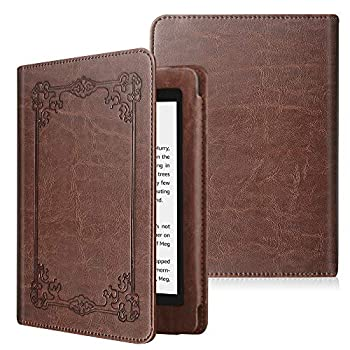 Fintie Folio Case for Kindle Paperwhite  Fits All-New 10th Generation 2018 / All Paperwhite Generations  - Book Style Vegan Leather Shockproof Cover with Auto Sleep/Wake Vintage Brown