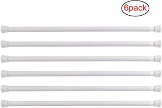 KAMSPARK Spring Tension Rods for Cupboards Closets Refrigerator Cabinets, RV Trailer Refrigerator Bar (White, 15.7-28 Inches, 6 Pack)