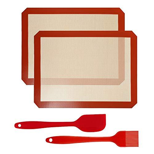 d.Stil 2 Tapis de Cuisson en Silicone 40cm x 30cm 2 Pièces sans BPA Anti-Adhérent Toile Feuille de Cuisson Patisserie 2 Tapis+Brosse+Spatule (Rouge, 2 Tapis(40 * 30cm)+Brosse+Spatule)