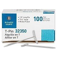 ビジネスソース Tピン 1-1/2-インチ シルバー 100個入りボックス 1 Pack