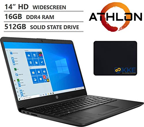 "HP 14"" HD SVA Anti-Glare Micro-Edge Screen Laptop, AMD Athlon Silver 3050U Processor up to 3.20GHz, 16GB RAM, 512GB PCIe NVMe SSD, Wireless-AC, Bluetooth, Windows 10, Jet Black, KKE Mousepad Bundle"