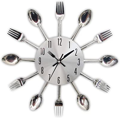 NEW MODERN HOME KITCHEN CLOCK VITAGE RETRO CHEF CUTLERY SPOON FORK LARGE ROUND