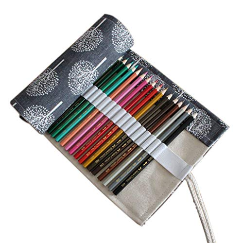 Colored Pencil Case Roll Up Canvas 24 Slot Pencil Roll Wrap-Pencil Pouches Holder Fit for Colored Pencils, NO Pencils