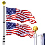 WinisKi Telescoping Flag Pole 30ft Extra Thick, Outdoor Heavy Duty Inground Adjustable Height Aluminum Telescopic Flagpole Kit, Golden Ball Topper, 3x5 USA Flag, Residential Commercial Pole, Silver
