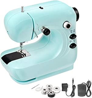 Mini Electric Sewing Machine, Portable Household and Lightweight Sewing Machine for Beginner, Sewing Made Easy with Double Thread and Free Arm, Adjustable 2-Speed with Foot Pedal for Kids (Blue)