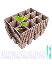 Ulikey Macetas Biodegradables, 20 Piezas Macetas de Fibra Biodegradables, Semilleros de Germinacion Biodegradable para Plántulas Maceta de Sembrado para Jardín Semillas y Trasplantes
